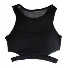 เสื้อ ครอป ออกกำลังกาย  (สีดำ) - Size S M L
