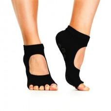 ถุงเท้าโยคะ มีปุ่มกันลื่น แบบเปิดนิ้วเท้า เว้าหลังเท้า Non-Slip Socks 1 คู่ (สีดำ)