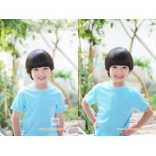 เสื้อกีฬาเปล่าเด็ก เสื้อกีฬาสีเด็ก สีฟ้า ไซส์ S