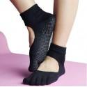 ถุงเท้าโยคะ มีปุ่มกันลื่น แบบปิดนิ้วเท้า Non-Slip Socks 1 คู่ (สีดำ)